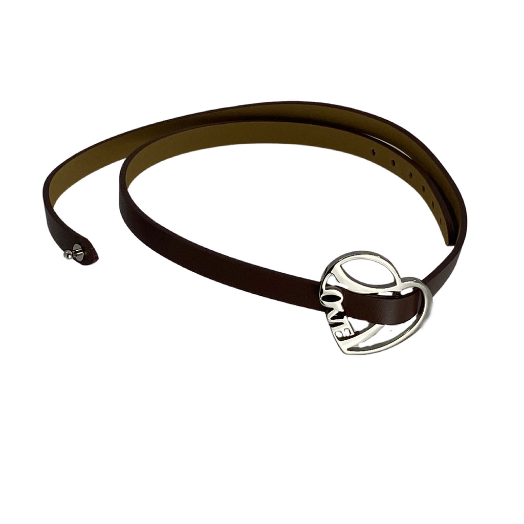 LOVE Bracelet Leather Brown & Stainless Steel