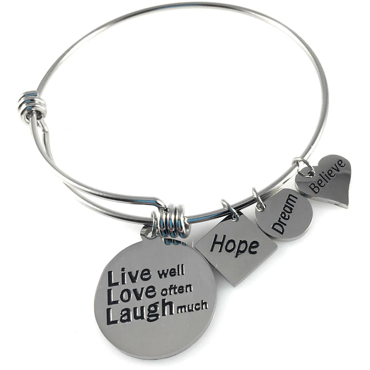 Stainless Steel Expandable Charm Bangle Bracelet Live Well Love Often Laugh Much - Beads and Dangles