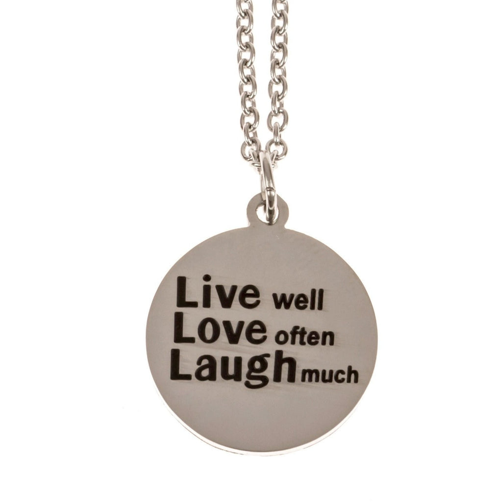 Stainless Steel Charm Necklace Live Well Love Often Laugh Much - Beads and Dangles