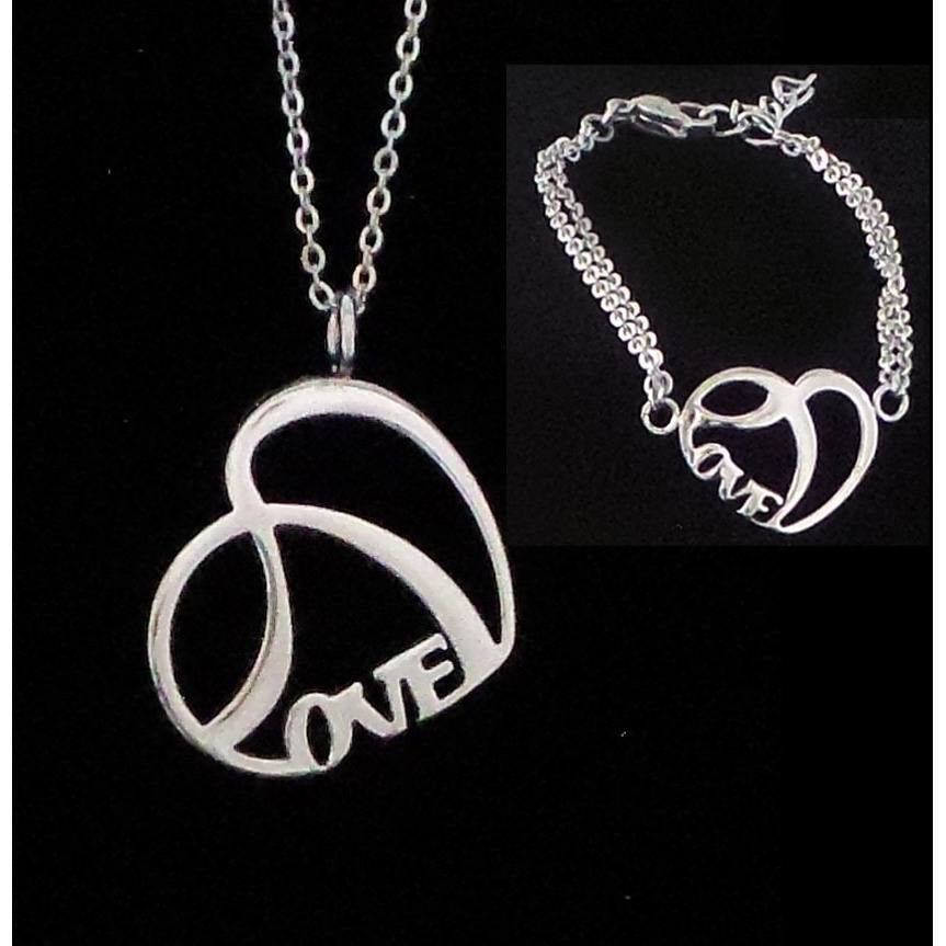 Stainless Steel Love Duo Necklace and Petite Size Love Bracelet - Beads and Dangles
