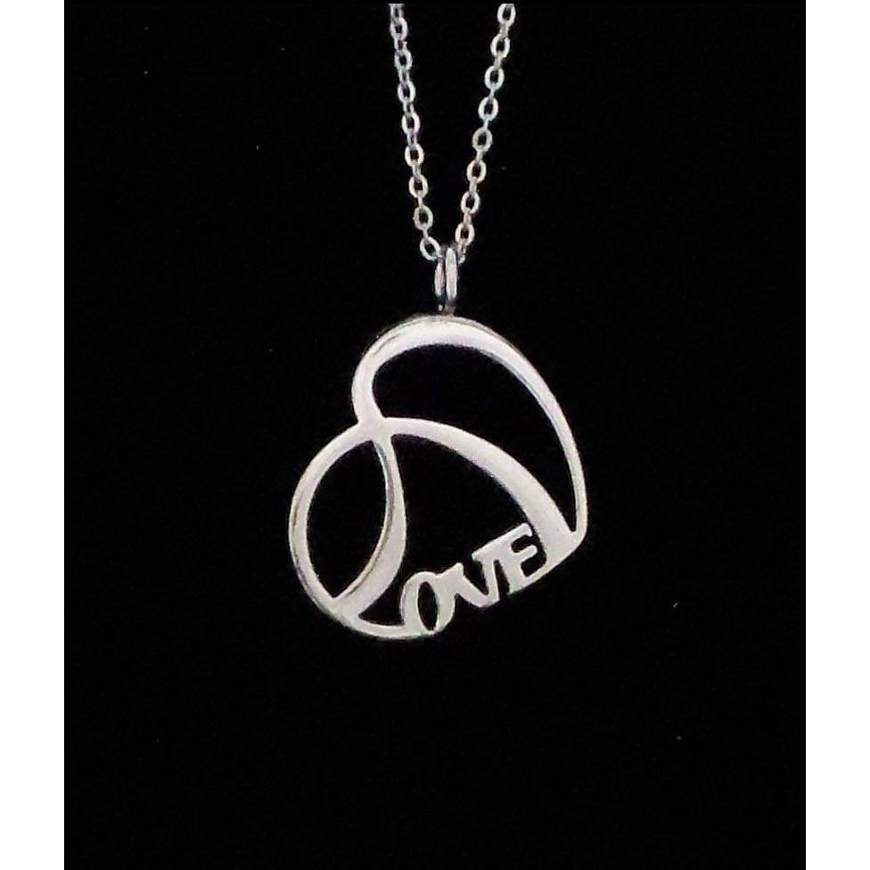 LOVE Necklace Shiny Stainless Steel Double Heart with Chain - Beads and Dangles