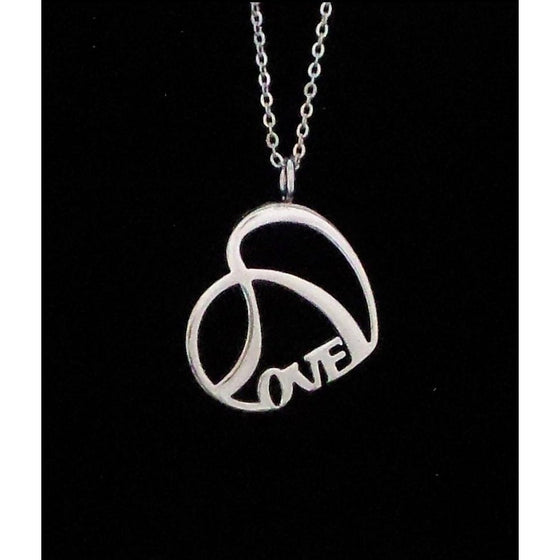 LOVE Necklace Shiny Stainless Steel Double Heart with Chain - Beads and Dangles - 1