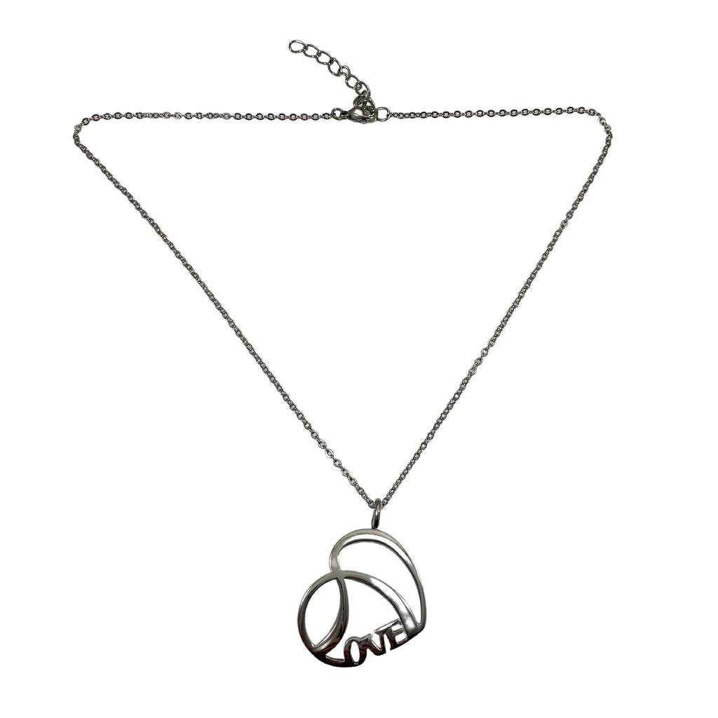 "LOVE Necklace Stainless Steel 16"" Chain + 2"" Extender"