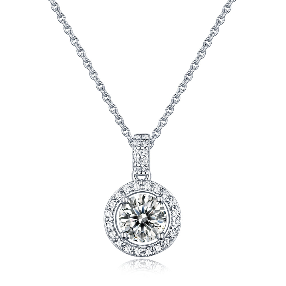 "Moissanite Sterling Silver Pendant Necklace 6.5mm Diameter Round Moissanite Includes 18"" Chain - Beads and Dangles"