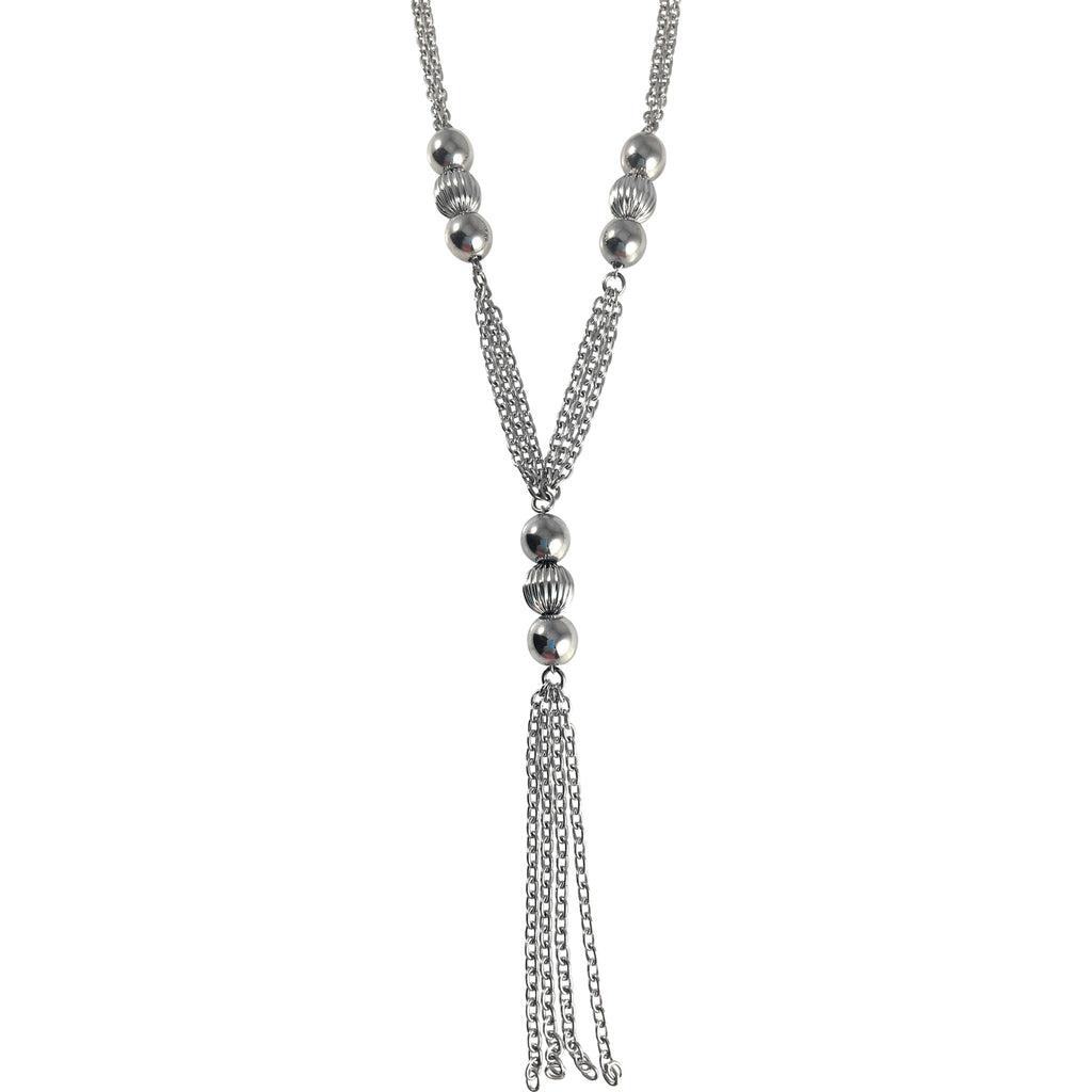 "Stainless Steel Long Necklace 29"" with Shiny Ball Accents and Tassel - Beads and Dangles"