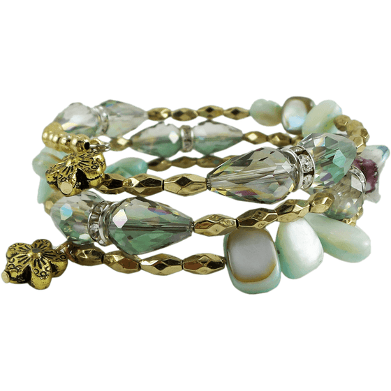 Memory Wire Wrap Bangle Mint Green/Gold - Beads and Dangles