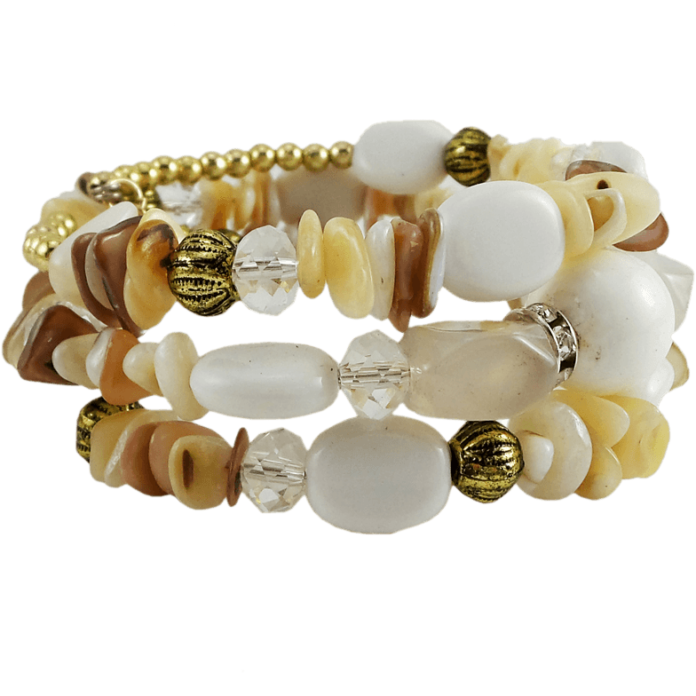 Memory Wire Wrap Bangle White/Gold - Beads and Dangles