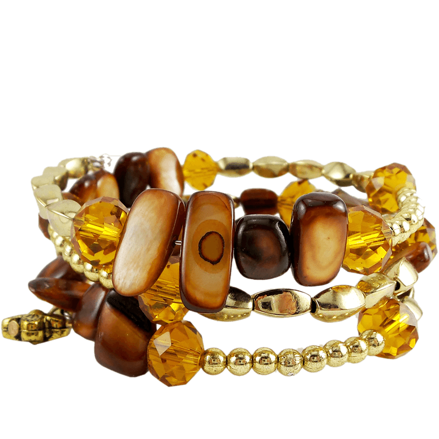 Memory Wire Wrap Bangle Brown/Gold - Beads and Dangles