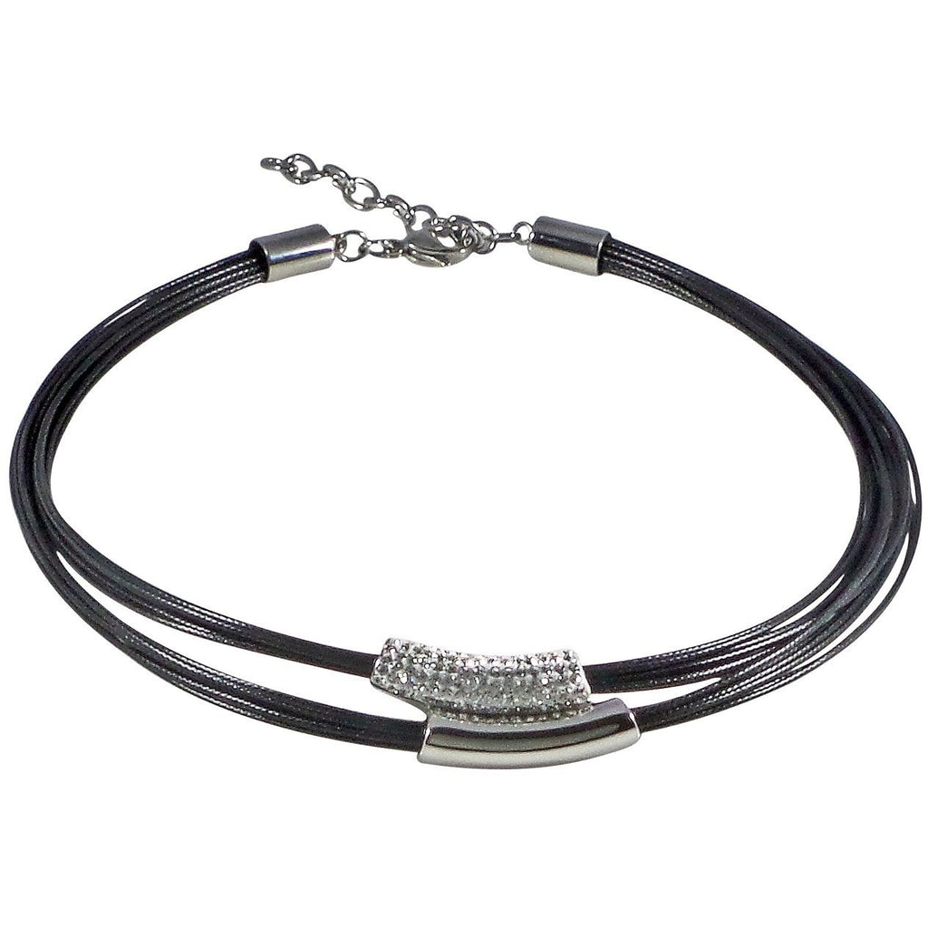Stainless Steel Necklace Wax Poly Cords Crystals Adjustable Clasp (Black) - Beads and Dangles