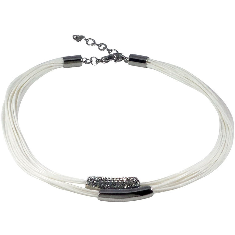 Stainless Steel Necklace Wax Poly Cords Crystals Adjustable Clasp Bracelet (White) - Beads and Dangles