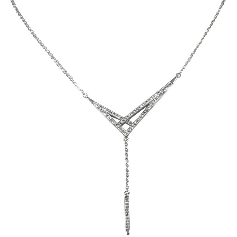 "Stainless Steel Necklace 16"" Studded Clear Crystal Drop 2"" Adjustable Clasp - Beads and Dangles"