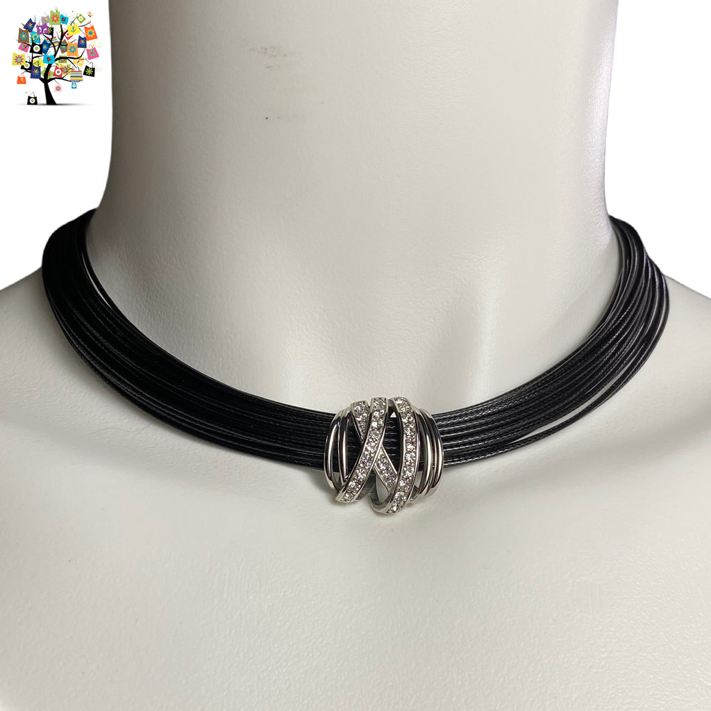 Stainless Steel Bracelets and Necklaces Black Cord Clear Crystals (Clear Crystals X-Centerpiece)