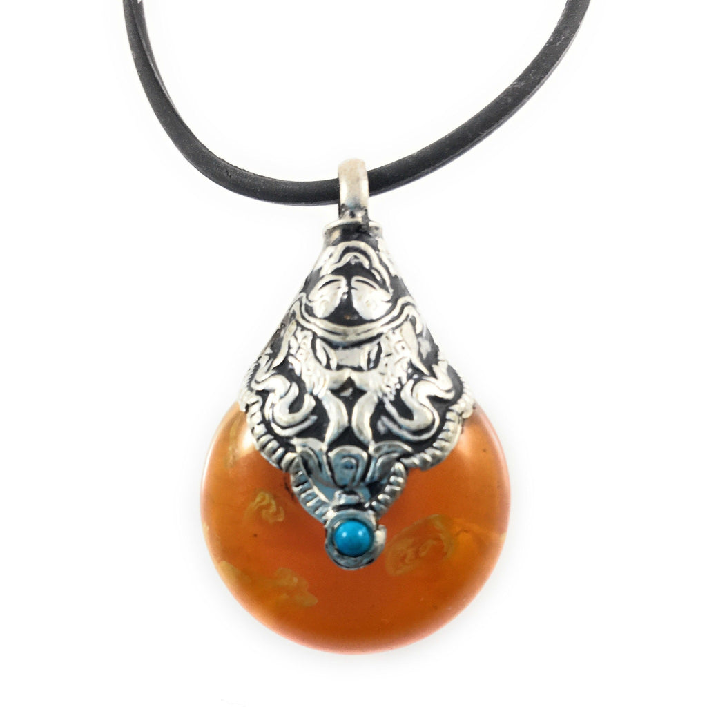 "Tibetan Pear Shaped Pendant Turquoise Stone 1.5"" on Silicone Cord 18"" - Beads and Dangles"