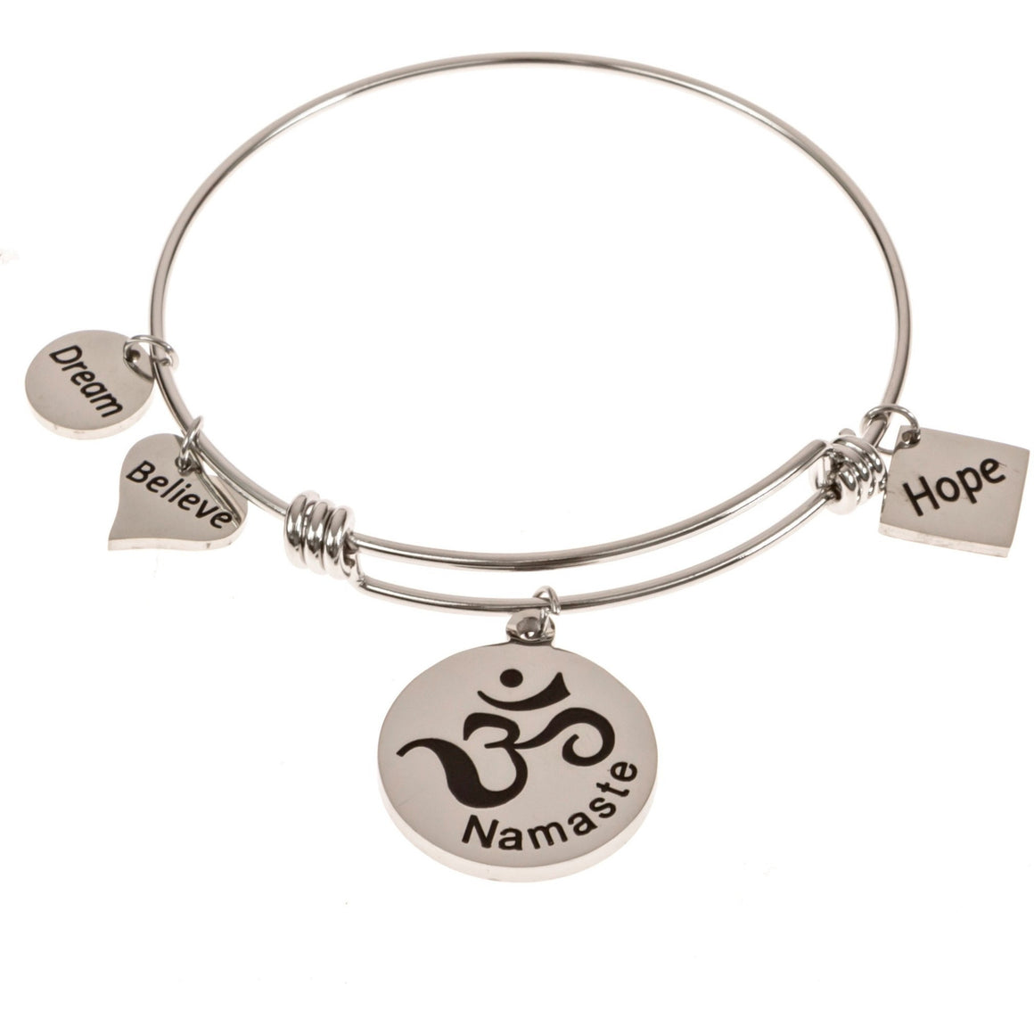 Expandable Bangle Bracelet Namaste Om - Beads and Dangles