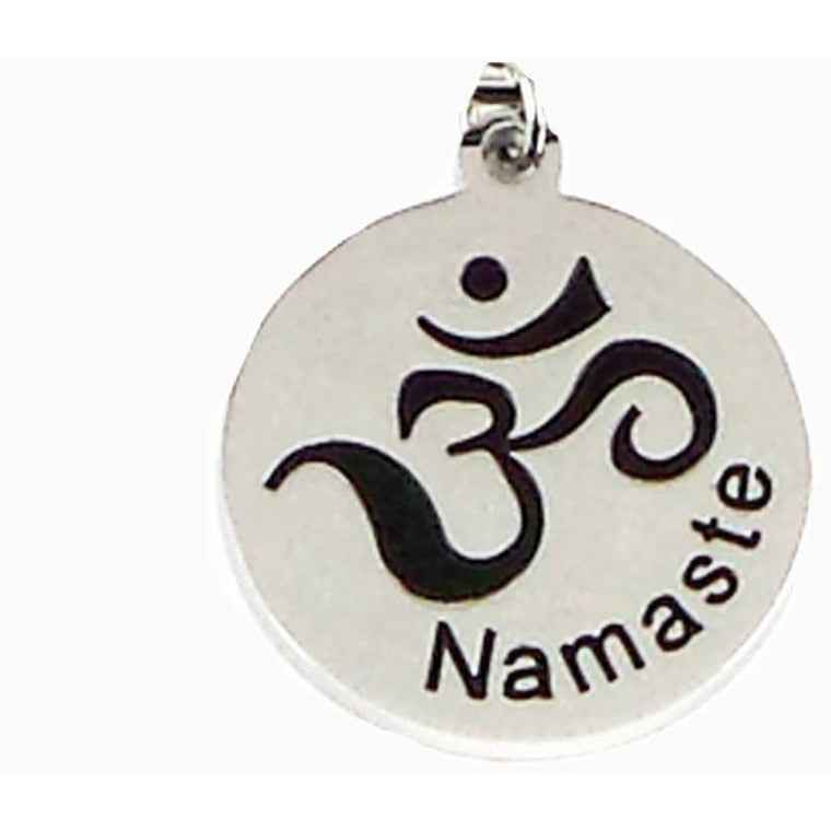 Stainless Steel Charm Namaste Om - Beads and Dangles