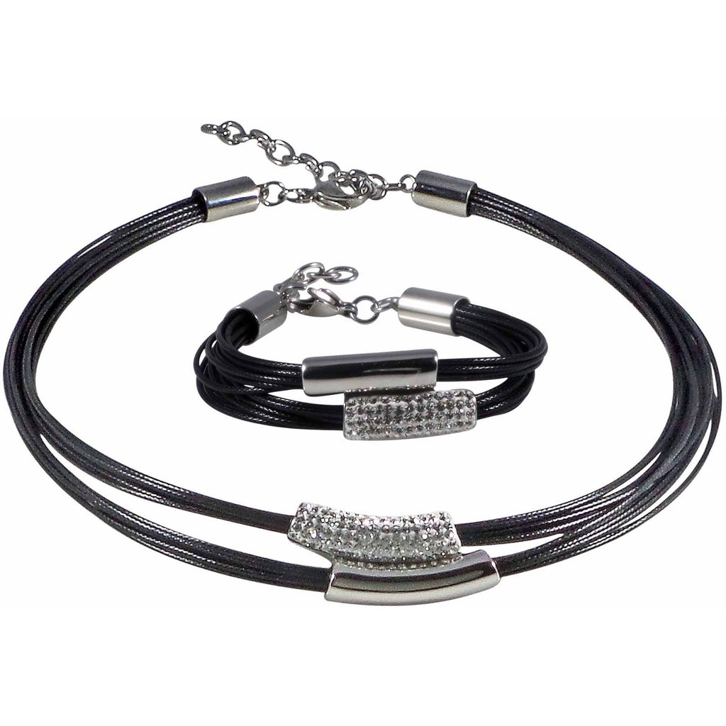 Stainless Steel Necklace and Bracelet Set Black Wax Poly Cords Crystals Adjustable Clasp - Beads and Dangles