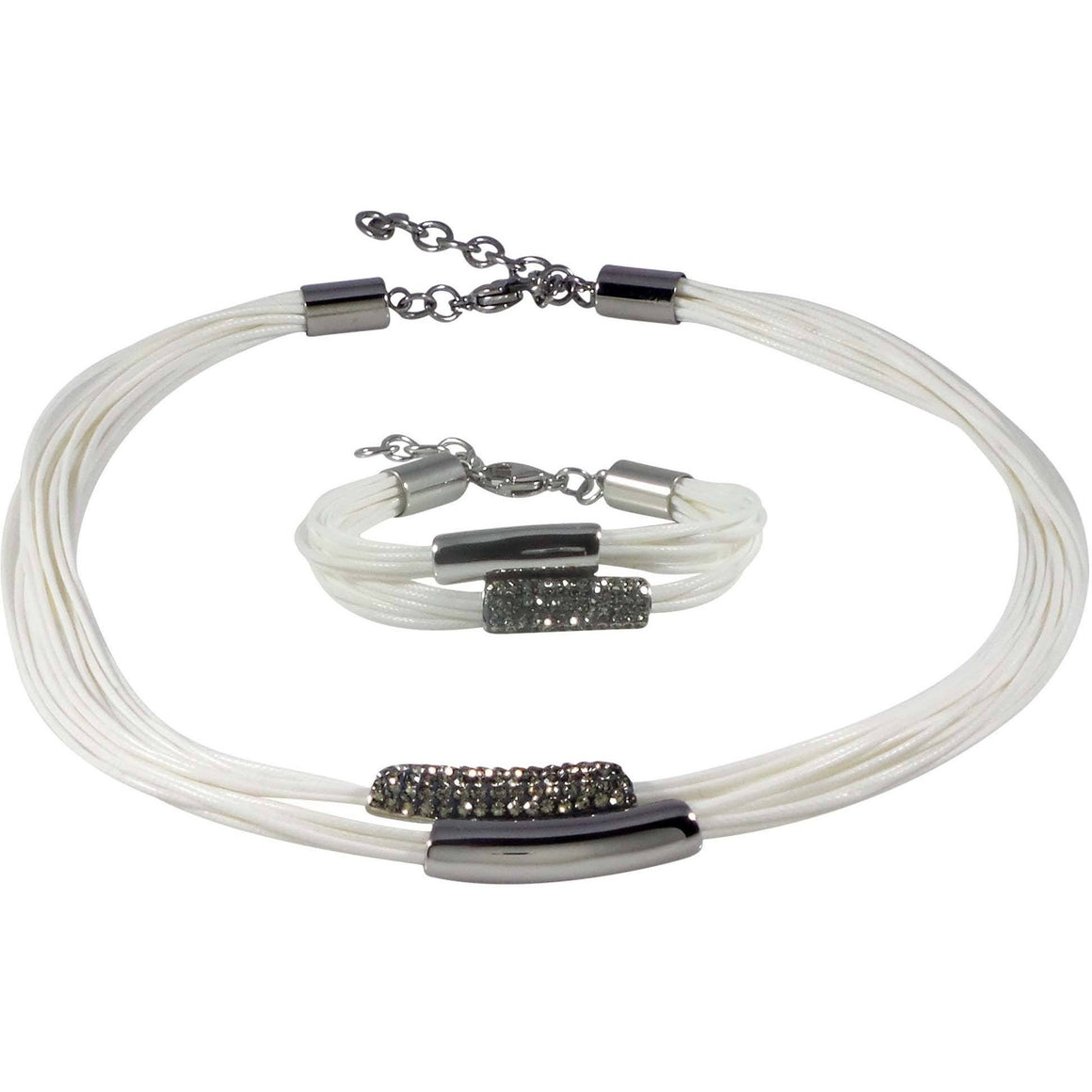 Stainless Steel Necklace and Bracelet Set White Wax Poly Cords Crystals Adjustable Clasp - Beads and Dangles