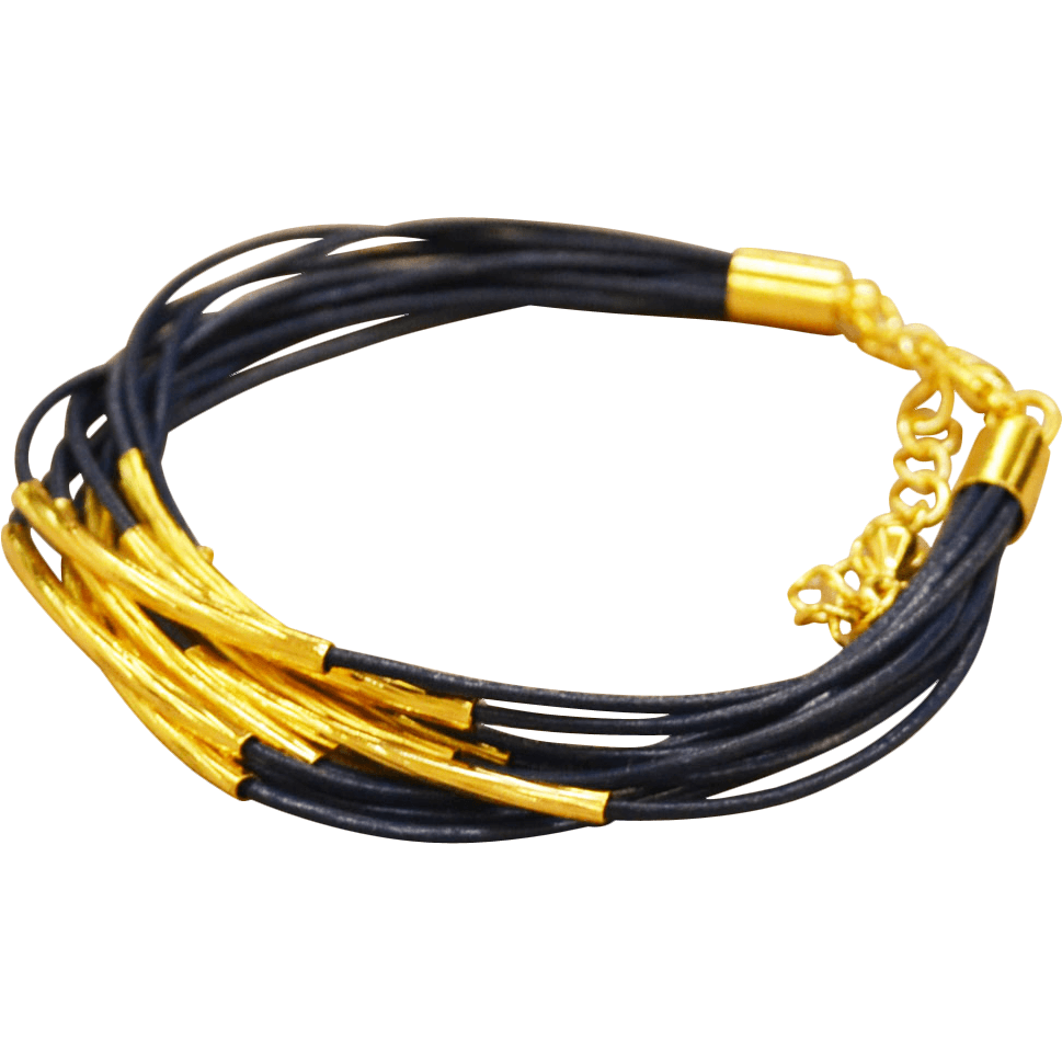 Leather Bracelet Gold Plated Trim - Blue - Beads and Dangles