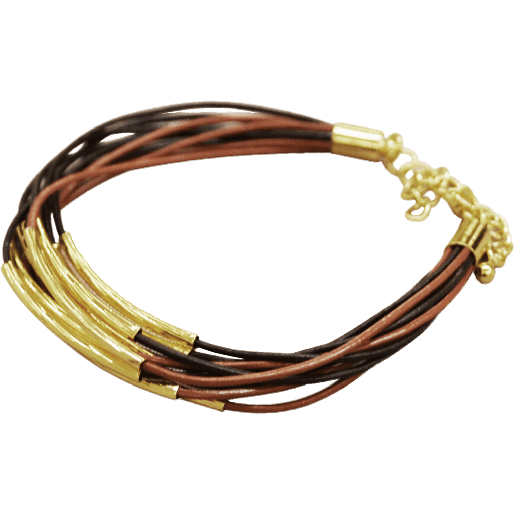 Leather Bracelet Gold Plated Trim - Brown/Black - Beads and Dangles