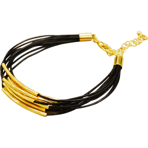 Leather Bracelet Gold Plated Trim - Black - Beads and Dangles
