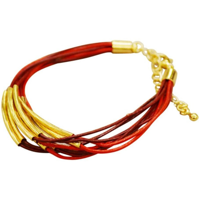 Leather Bracelet Gold Plated Trim - Red/Maroon - Beads and Dangles
