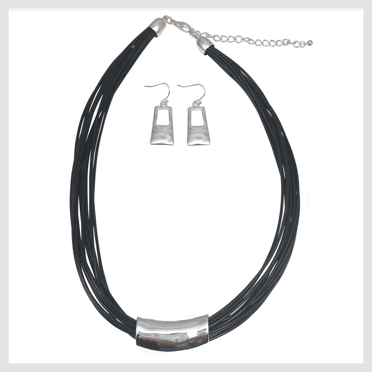 Pendant Necklace Black Cords and Unique Bar Design Matching Earrings - Beads and Dangles