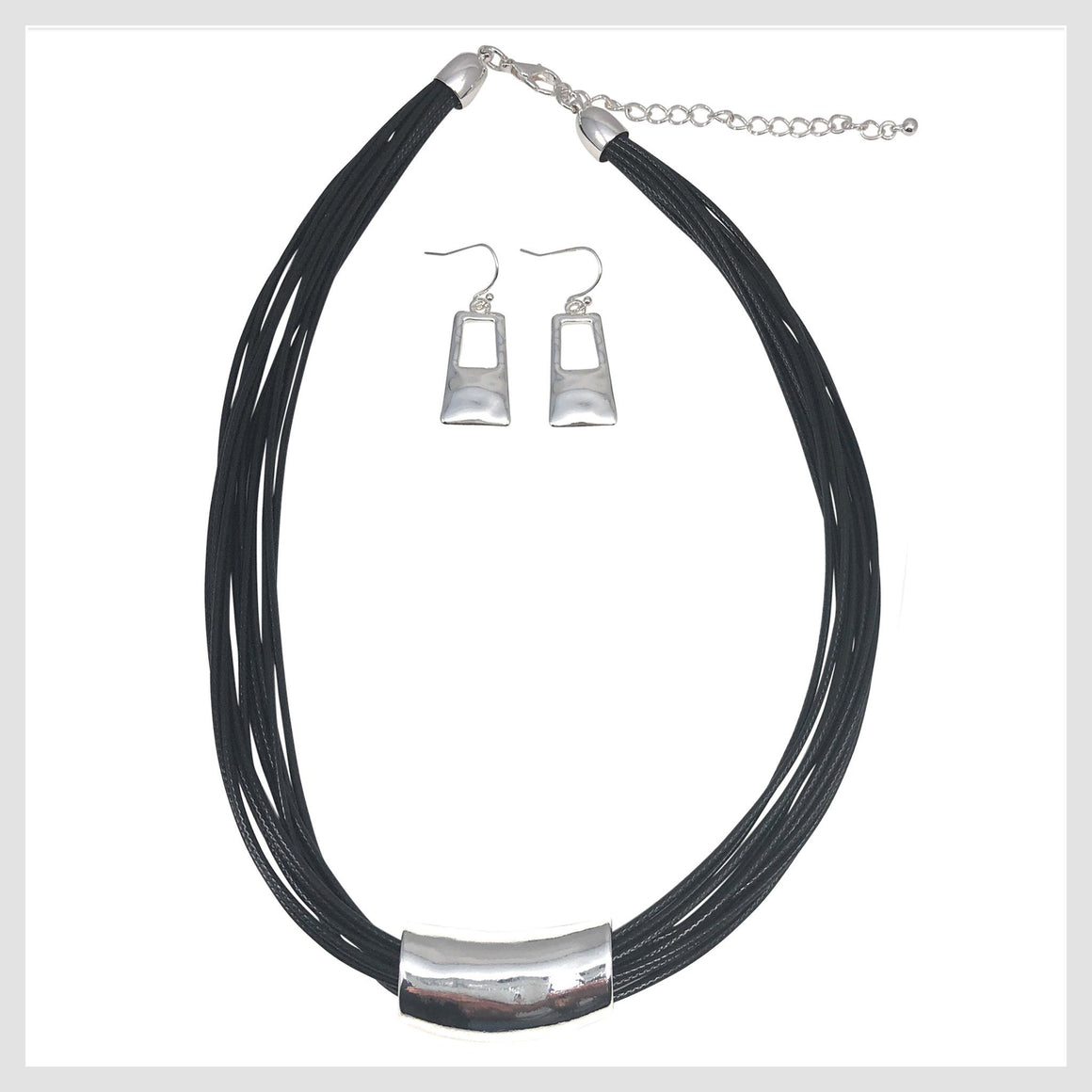 Pendant Necklace Black Cords and Unique Bar Design Matching Earrings