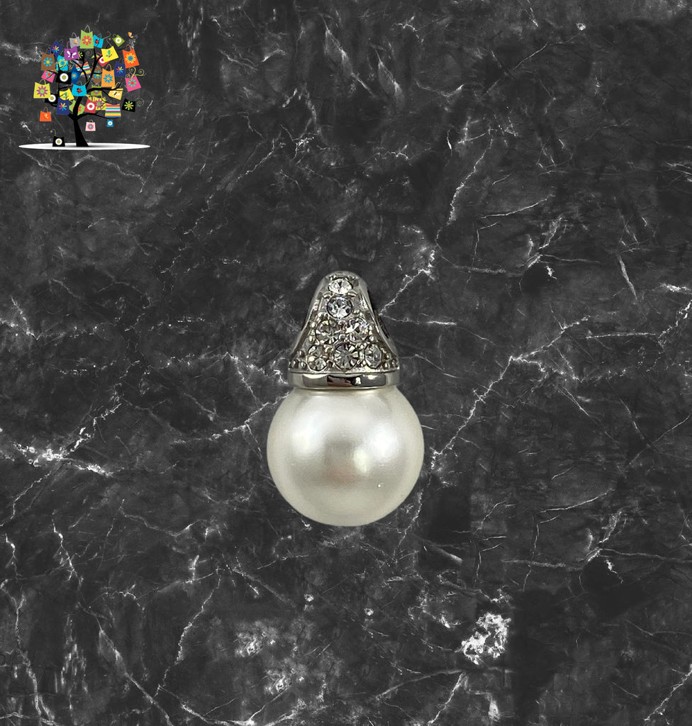 Pearl Pendant in Stainless Steel with 3 Rows of White Crystal Stones on One Side. Reversible.