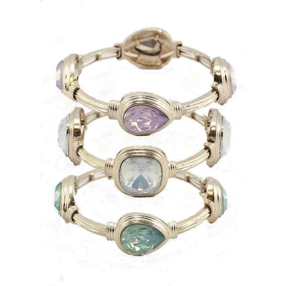 stretch bracelet pink seafoam green oyster white colored stones in