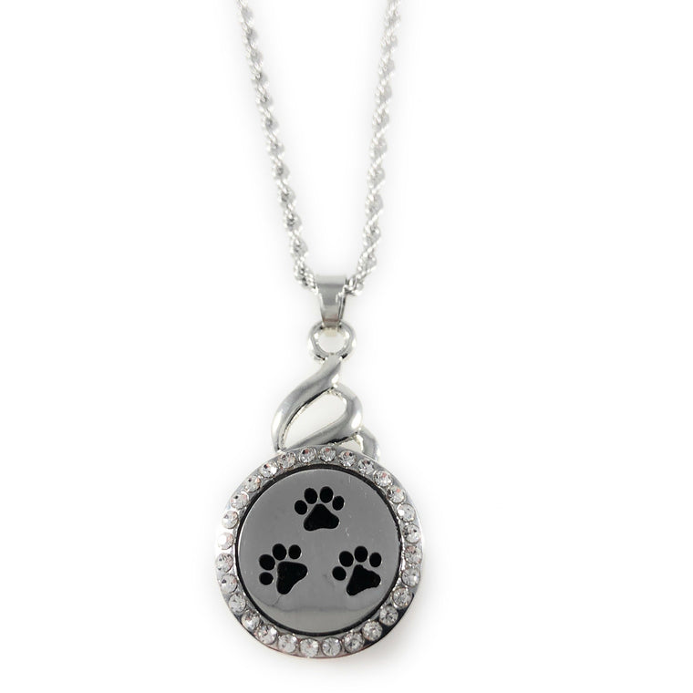 "Snap Charm Pendant Aromatherapy Diffuser Locket 22mm PAW Includes 18"" Chain - Beads and Dangles"