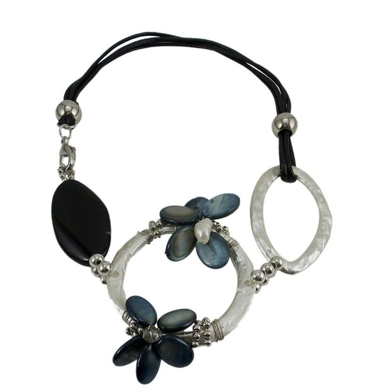 "Chunky Statement Necklace Black Cord 18"" - Beads and Dangles"