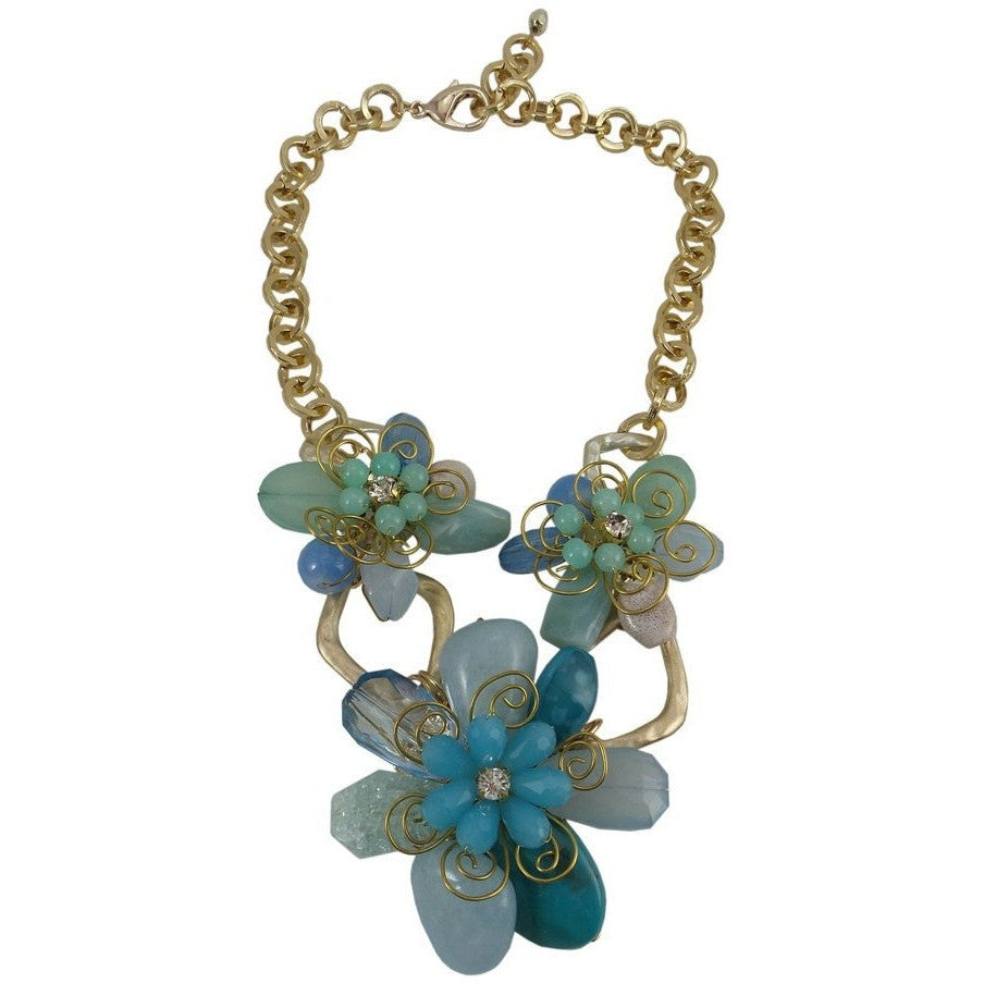 "Chunky Statement Necklace Blue Flowers Metal Chain 18"" Adjustable - Beads and Dangles"