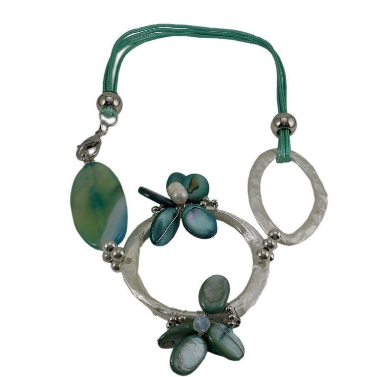 "Chunky Statement Necklace Teal Cord 18"" - Beads and Dangles"
