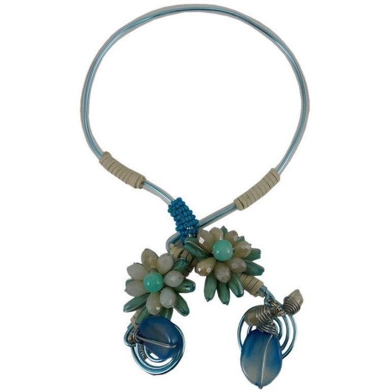 Chunky Statement Necklace Flexible Choker Collar Blue - Beads and Dangles