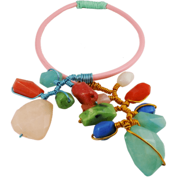 Chunky Statement Necklace Flexible Choker Collar Pink - Beads and Dangles