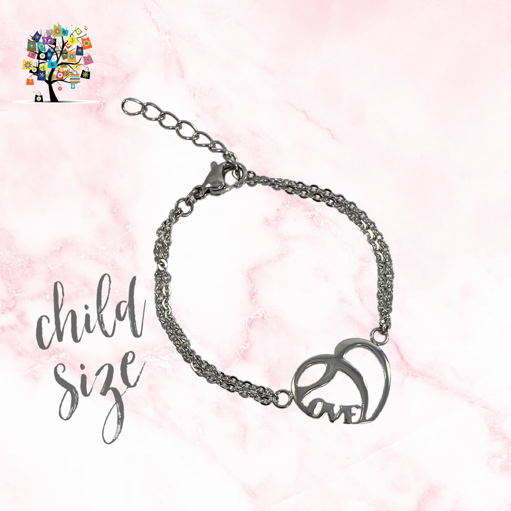 Stainless Steel Love Duo Necklace and Petite Size Love Bracelet