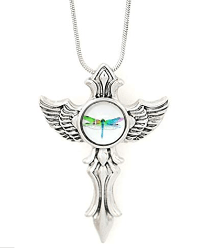 Snap Metal Pendant Cross for Mini Snaps includes Dragonfly Mini Snap and Chain - Beads and Dangles