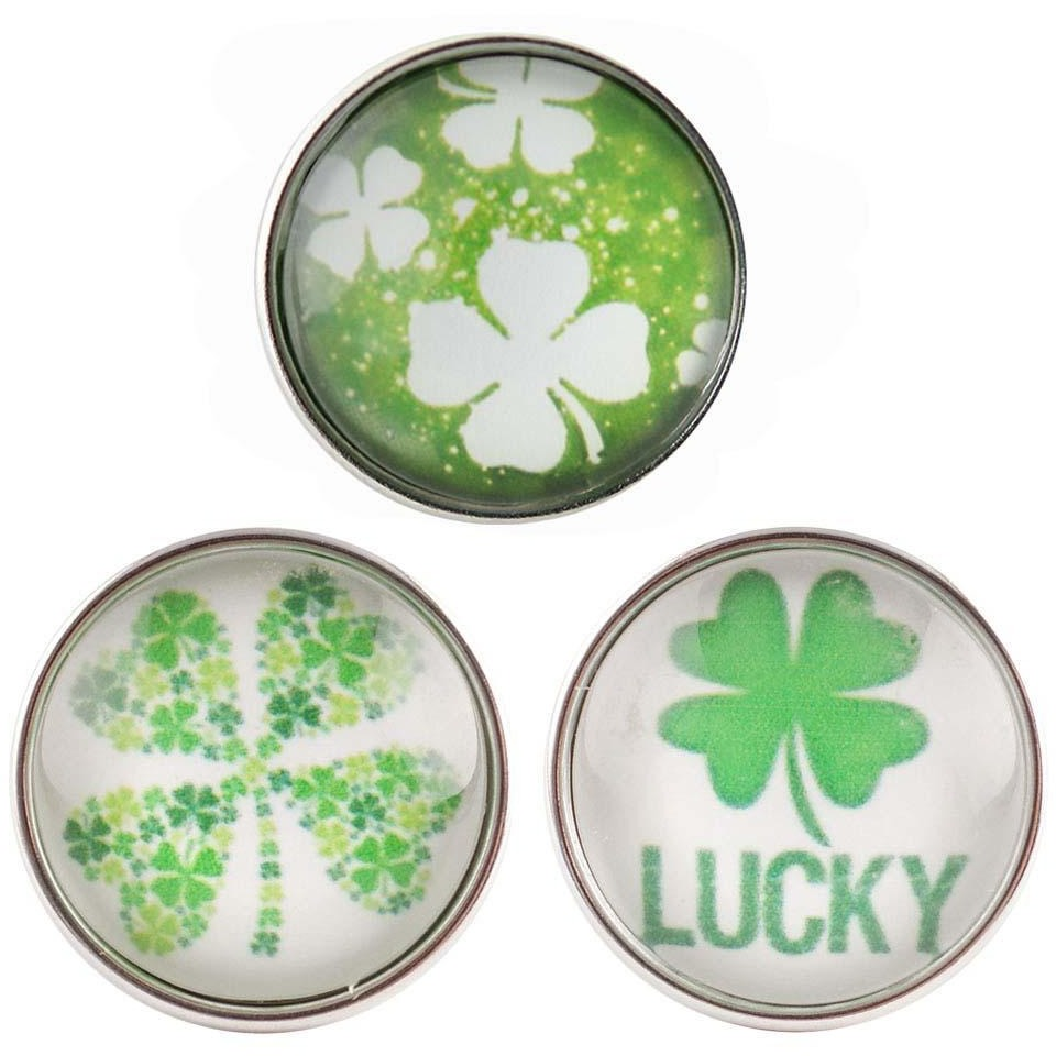 "4 Leaf Clover Lucky Shamrock Set 3 Glass Cover 20mm 3/4"" - Beads and Dangles"