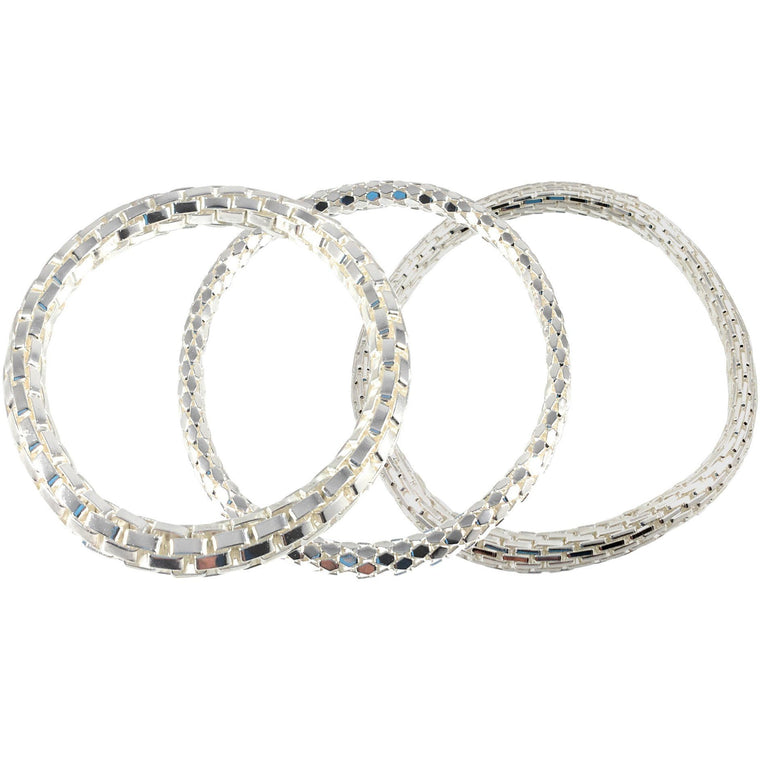 925 Sterling Silver Filled Mesh Chain Stretch Bracelet Bracelets Set of 3 (Two 4mm One 6mm) - Beads and Dangles