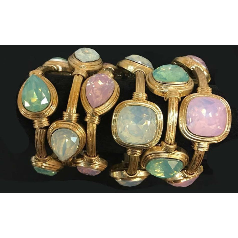 Stretch Bracelet Pink Seafoam Green Oyster White Colored Stones in Cushion or Teardrop Cuts - Beads and Dangles