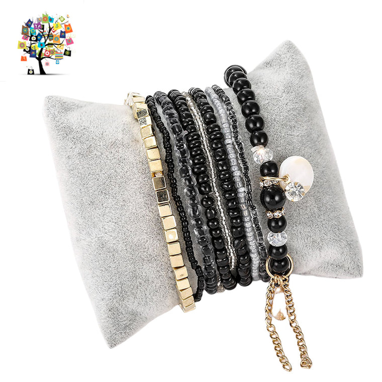 Natural Stone Crystal Pearl Stretch 10 Bracelets-Black & Gold