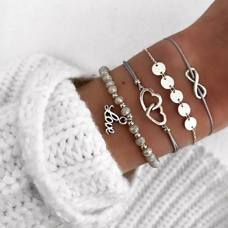 Love Bracelet Set of 4 Grey and Silver