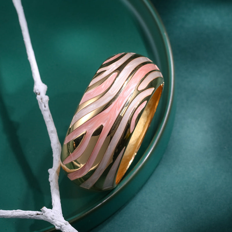 Retro Bangle Bracelet Pink and Gold Hinged