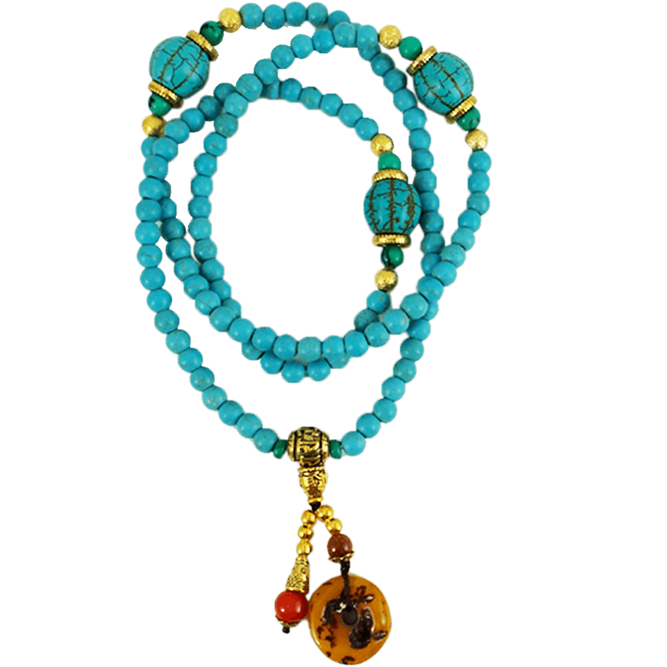 Tibetan 108 Prayer Beads Wrap Bracelet Necklace Turquoise - Beads and Dangles