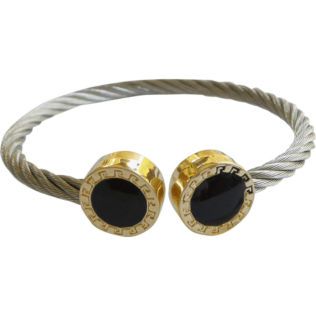 Stainless Steel Twisted Cable Cuff Bracelet Round Enamel Tips - Beads and Dangles