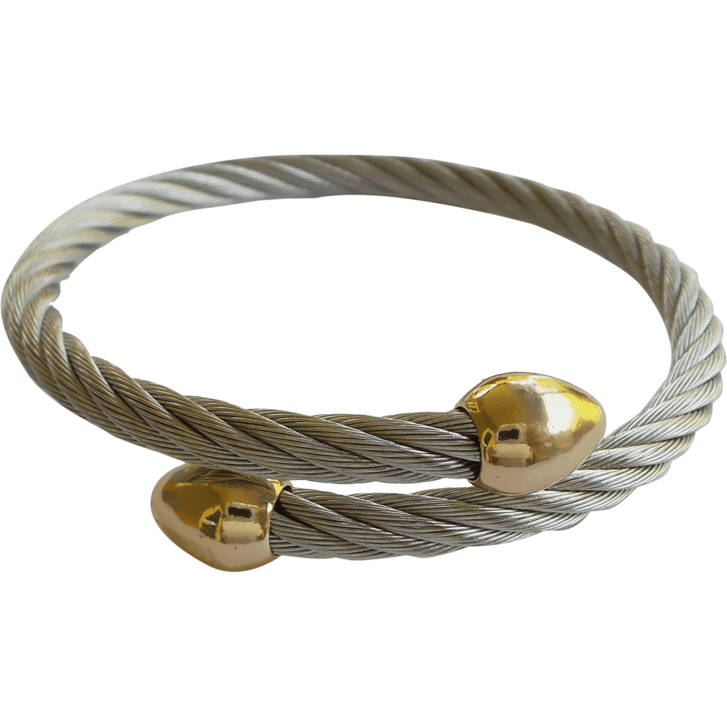 Stainless Steel Twisted Cable Cuff Bracelet Gold Plated Pointed Tips - Beads and Dangles