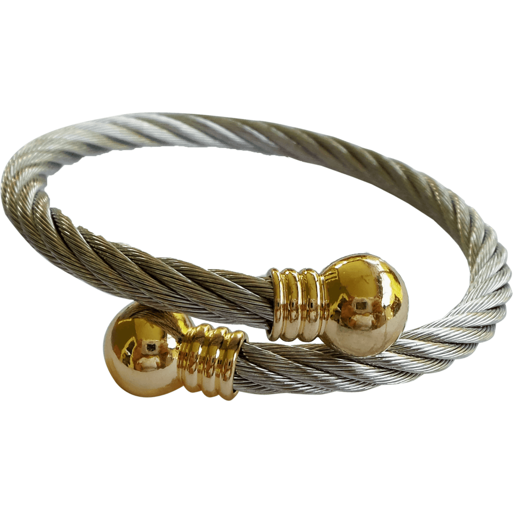 Stainless Steel Twisted Cable Cuff Bracelet Gold Plated Tips - Beads and Dangles