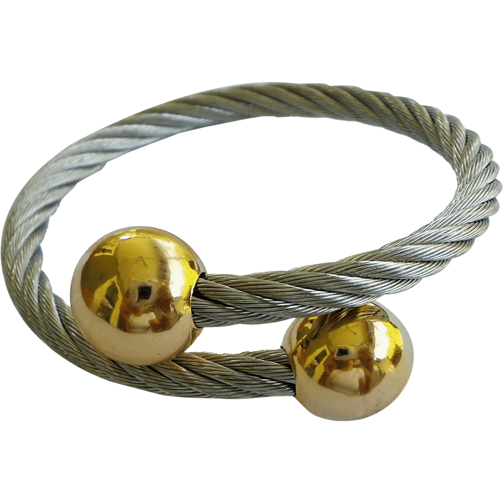 Stainless Steel Twisted Cable Cuff Bracelet for Women Half Round Gold Tips - Beads and Dangles