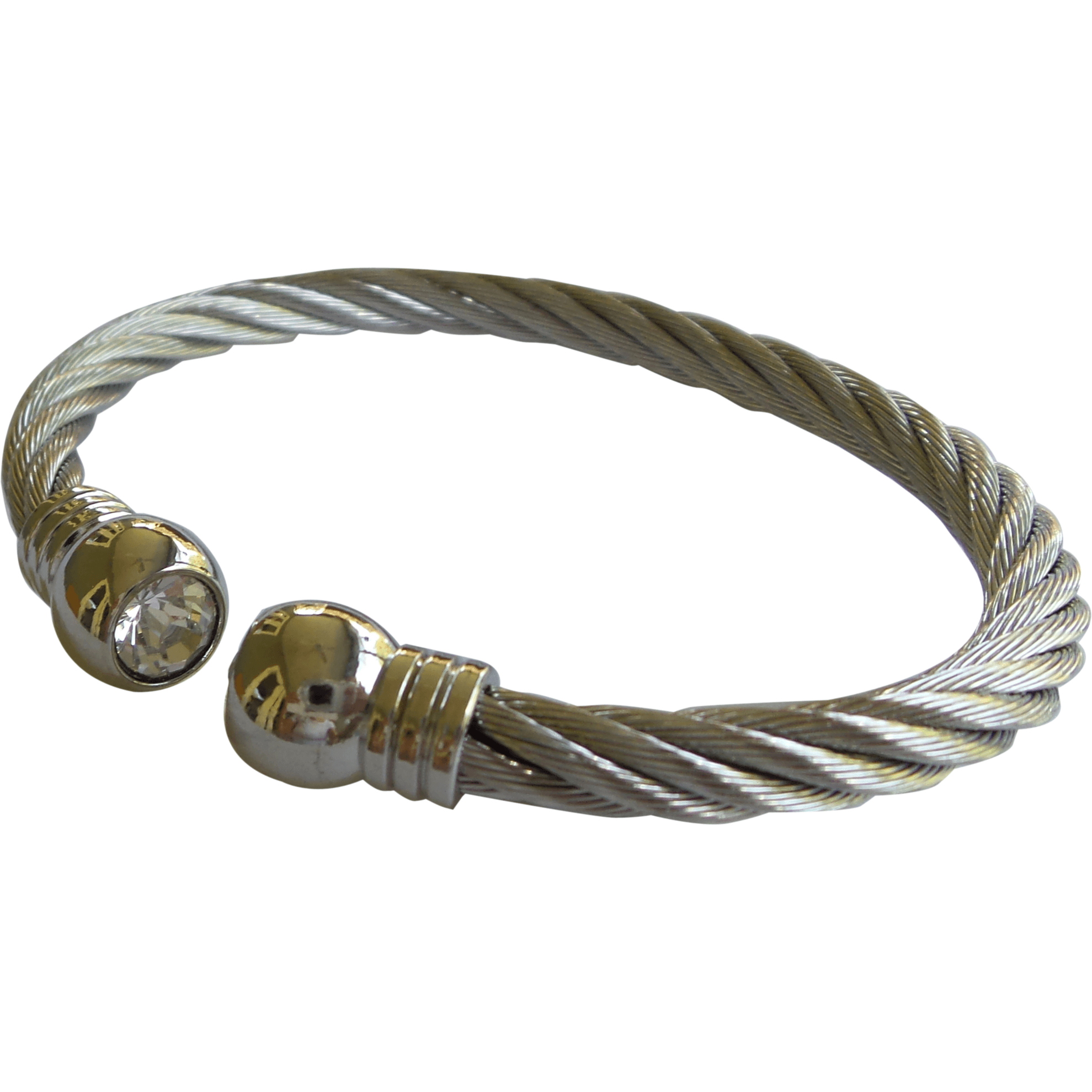 8f3166a499b Stainless Steel Twisted Cable Cuff Bracelet Clear Stone Silver Tips - Beads  and Dangles
