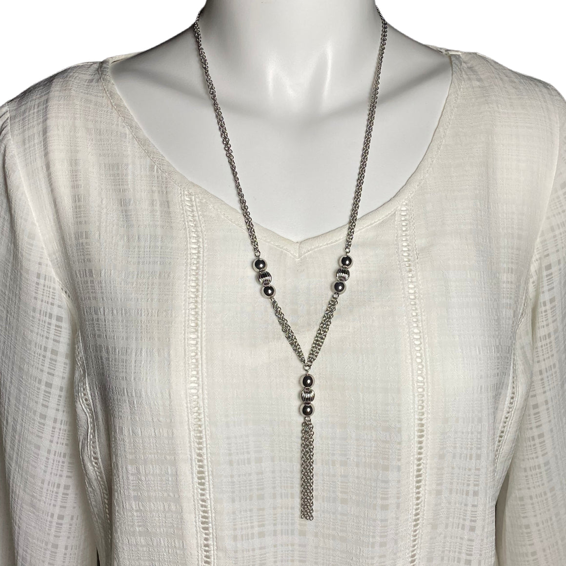 "Stainless Steel Long Tassel Necklace 29"" with Shiny Ball Accents"